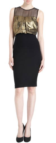 L'agence Draped Leather Bodice Dress $695.00 on sale for $279.00
