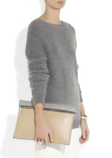 Victoria Beckham Two-Tone Leather Clutch $595.00