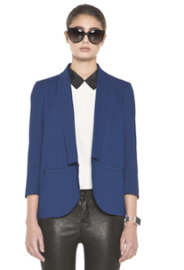 Girl. By Band Of Outsiders Blue Crop Sleeve Blazer $425.00