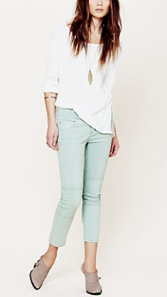 Free People Herringbone Skinny Crop Jean:Mint Julep $78.00