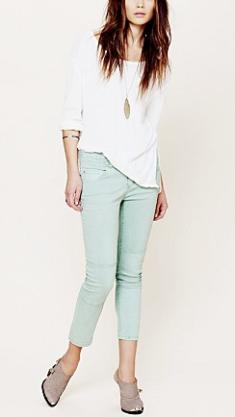 Free People Herringbone Skinny Crop Jean:Mint Julep $78.00