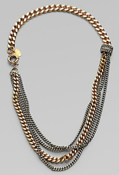 Giles & Brother Multi- Row Two-Tone Chain Link Necklace $250.00