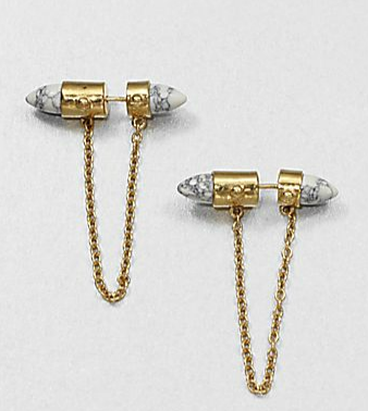 ALC Howlite Double Sided Earings $160.00 www.saksfifthavenue.com