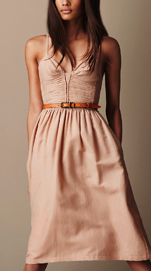 Burberry Brit Taupe Silk Cotton Corset Dress $595.00