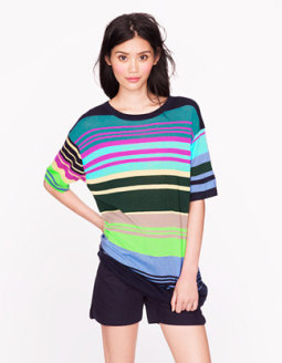 The Elder Statesman Cashmere Ultra-Stripe Tee $348.00