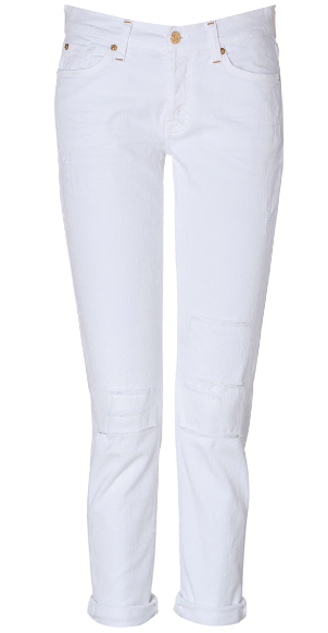 Seven For All Mankind Destroyed Josefina Jeans in White $230.00