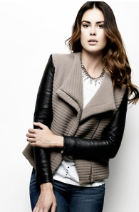 Iro Leather Sleeve Combo Jacket $465.00