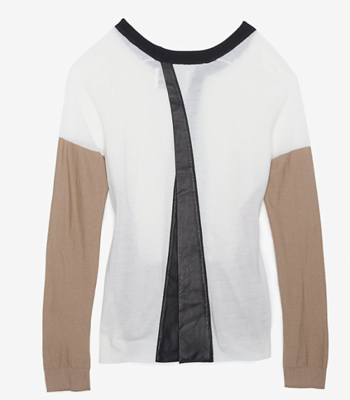 Aiko Cross Back Leather Detail Sweater $298.00 Back