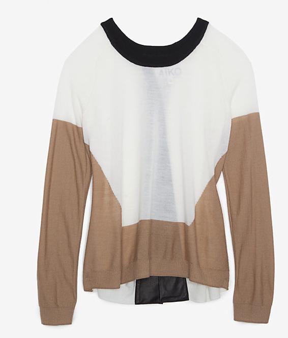 1269e93f602 Aiko Cross Back Leather Detail Sweater  298.00