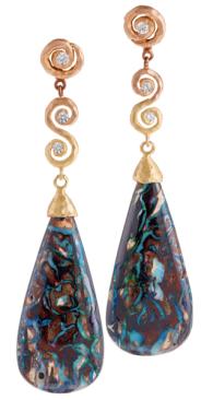 """Pamela Froman Australian Matrix Opal """"Mommy Earrings"""""""