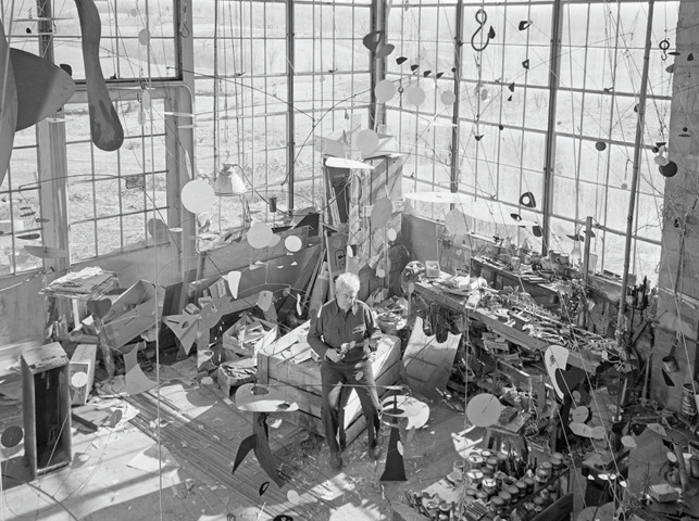 The artist at work in his studio circa 1955