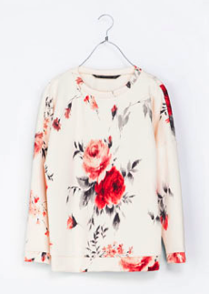 Zara Neoprene Floral Top $59.90