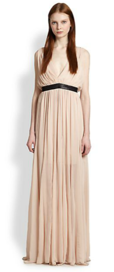 Alice + Olivia Kendrick Leather-Trimmed Draped Dress $440 Saks 5th Ave