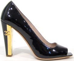 Chanel Black Patent Leather Two-Tone Heels