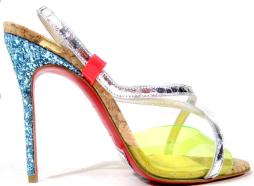 Christian Louboutin Glitter Heel Cork Sandals