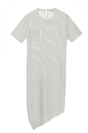 Striped Dress With Asymetrical Hem Line $78.00 Front Row Shop