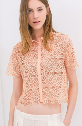 Zara Guipure Shirt $59.90 on sale for $29.99