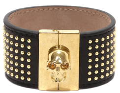 Alexander McQueen Studded Leather Skull Bangle $485.00
