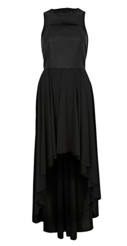 Black Leather Look Dip Hem Dress $120.00 on sale $40.00