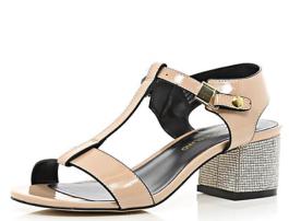 Light Pink Patent Rhinestone Heel Sandals $80.00