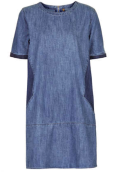 Moto Contrast Denim Tee Dress $76.00 Top Shop