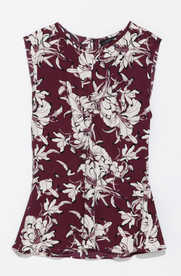 Zara Printed Top With Gathered Front $69.90 on sale for $29.99