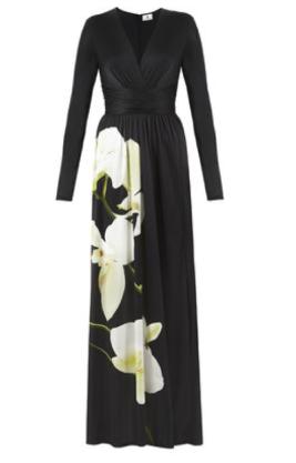 Black Orchid Print Maxi Dress