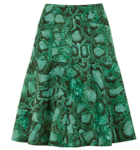Green Python Flounce Skirt