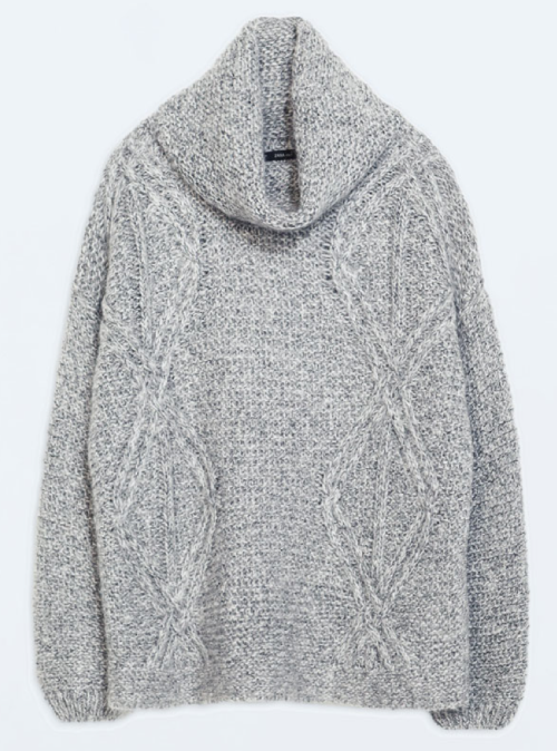 Zara High-Neck, Cable Knit Sweater $99.90