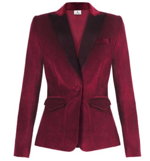 Ruby Red Velvet Blazer