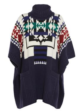 Sacai Luck Jacquard-Knit Poncho $540
