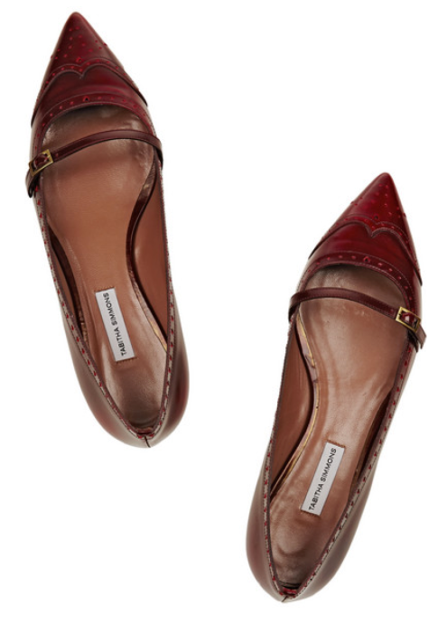 Tabitha Simmons Belfy Glossed Leather Point-Toe Flats $695.00