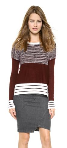 Tess Giberson Striped Birdseye Sweater $395.00