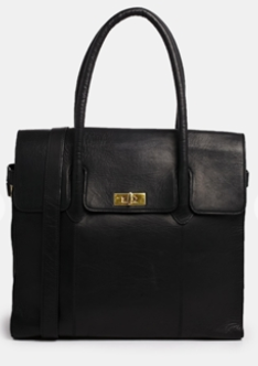 ASOS Urbancode Leather Black Flapover Shoulder Bag $385.00 on sale for $185.00