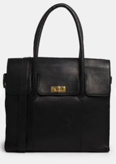 ASOS Urbancode Leather Black Flapover Shoulder Bag $385.00 on sale for $185.00