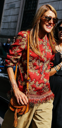 Anna Dello Russo in a Dries van Noten top