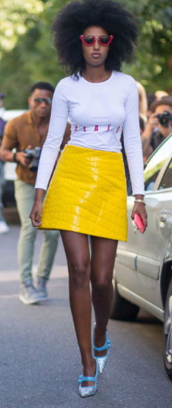 Julia Sarr-Jamois in a Miu Miu skirt